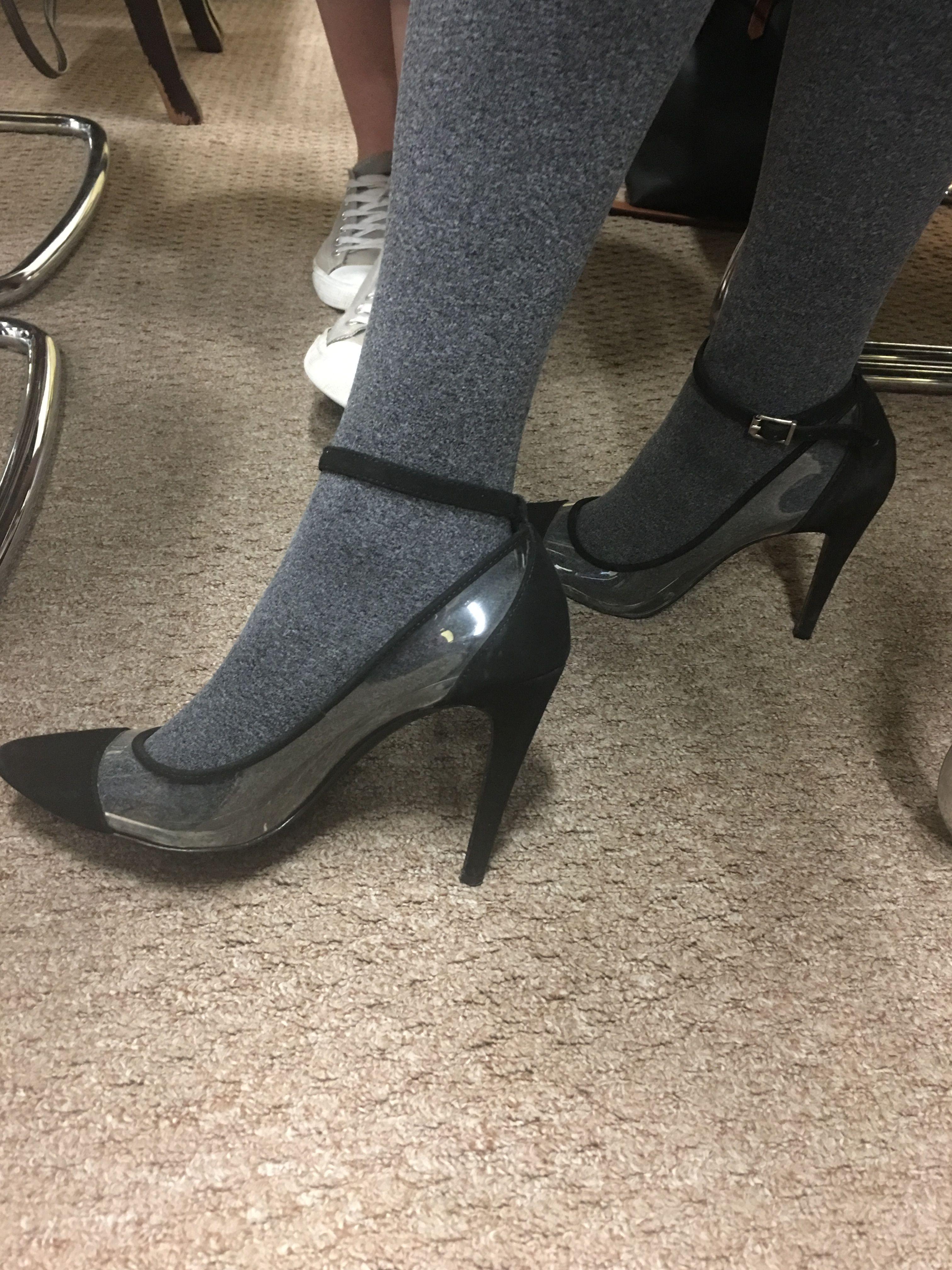 Clear Type Heels Paired W Stockings For The Fall Season Love Heels Modest Heels Kitten Heels Shoes
