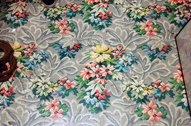 Lighting Basement Washroom Stairs: Beautiful Vintage Linoleum Pattern