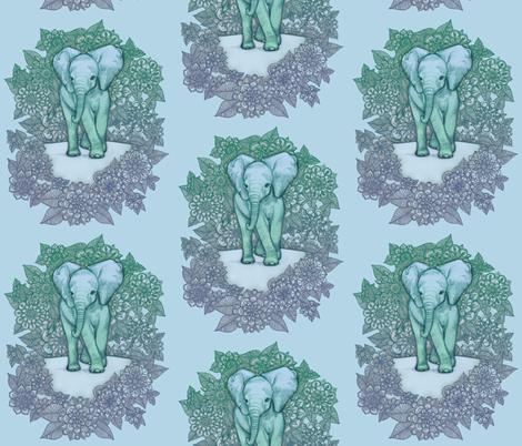 Cute Baby Elephant - soft blue and green fabric by micklyn on Spoonflower - custom fabric