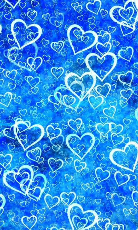 Hearts Abstract Blue 480x800 Wallpaper Planos De Fundo