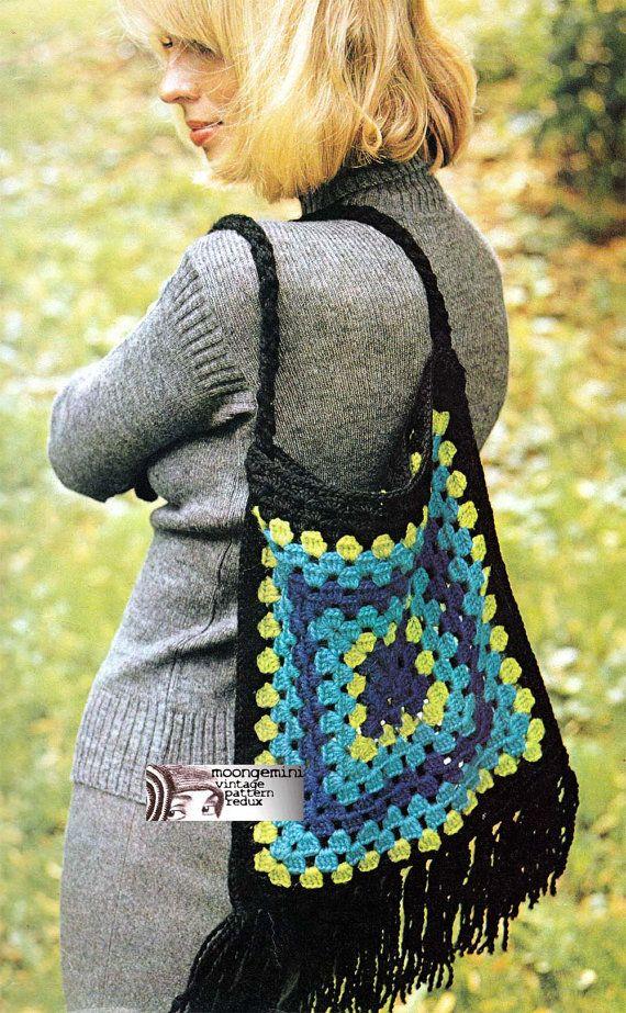 Crochet Purse Giant Granny Square Bag Handbag Tote 60s Vintage