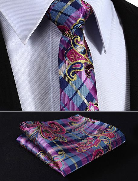 "TP909K7 Pink Blue skinny floral 2.75"" 100%Silk Woven Slim Skinny Narrow Men Tie Necktie Handkerchief Pocket Square Suit Set"