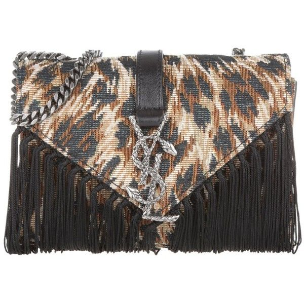 Saint Laurent Monogramme Baby Chain Crossbody Manto Naturale/Nero in... (£990) ❤ liked on Polyvore featuring bags, handbags, shoulder bags, brown, leather crossbody, leather fringe handbags, leather handbags, brown leather purse and fringe crossbody
