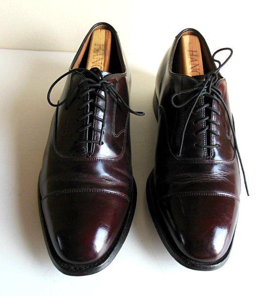 Johnston & Murphy Shoes size 8 1/2 Dress Tie Cordovan Oxford Wingtip Men 8.5