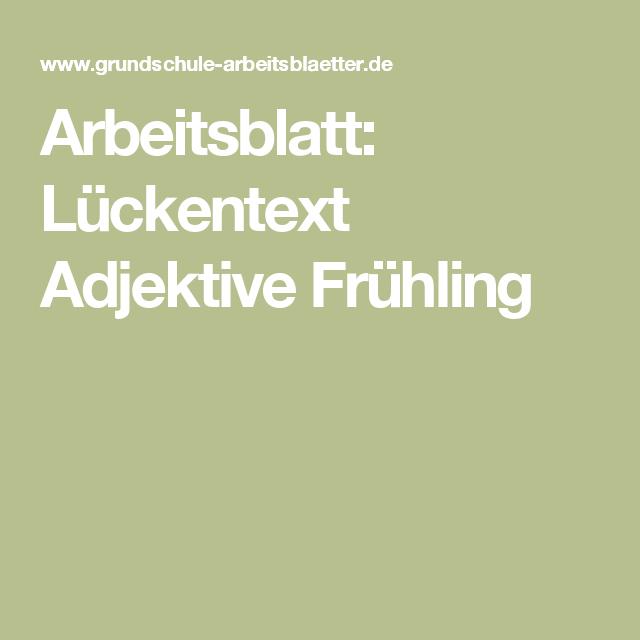 Arbeitsblatt: Lückentext Adjektive Frühling | Deutsch | Pinterest ...