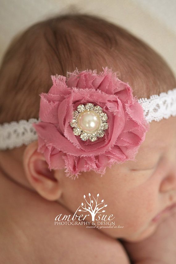 Newborn Baby Rose Hairband Chiffon Flower Pearl Lace Elastic Rhinestone Headband