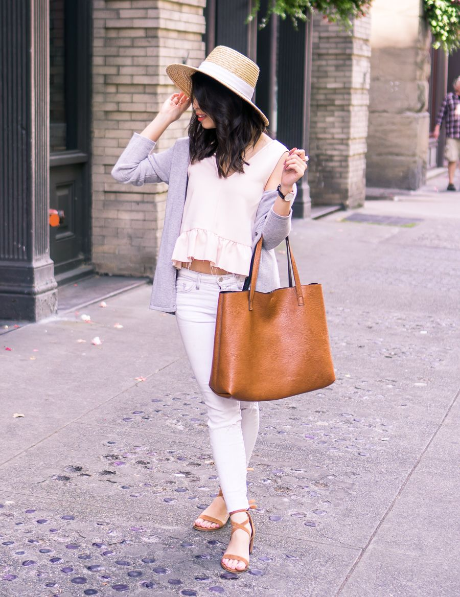 Summer Cashmere Cardigan Sweater | White jeans, Straw hats and ...