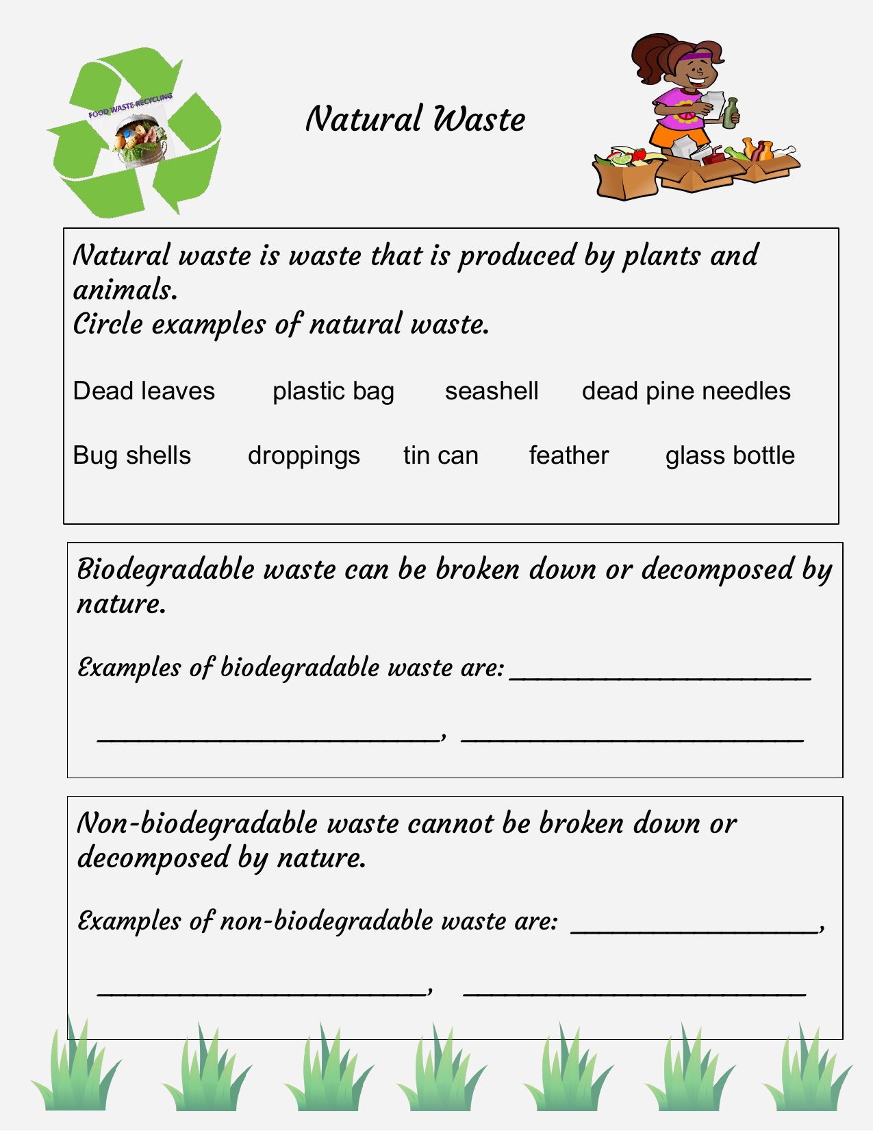 Natural Waste Worksheet Resource Preview