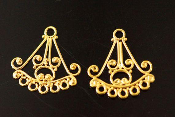 24k gold vermeil chandelier sold by set 18 x 19  mm by vlvp, $6.99