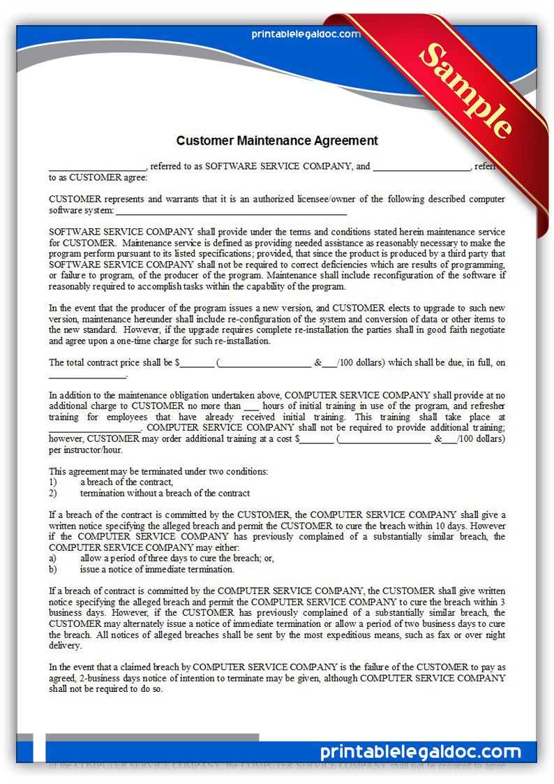Printable Sample Customer Maintenance Agreement Form  Printable