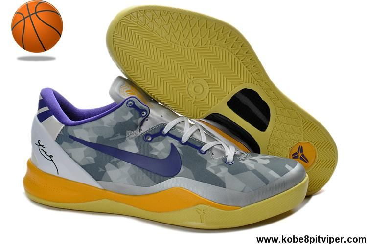 Discount Womens Nike Zoom Kobe VIII(8) 555035-058 White Purle Yellow Shoes Store