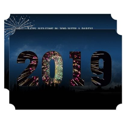 New Year 2019 Party City Skyline And Fireworks Invitation Holiday