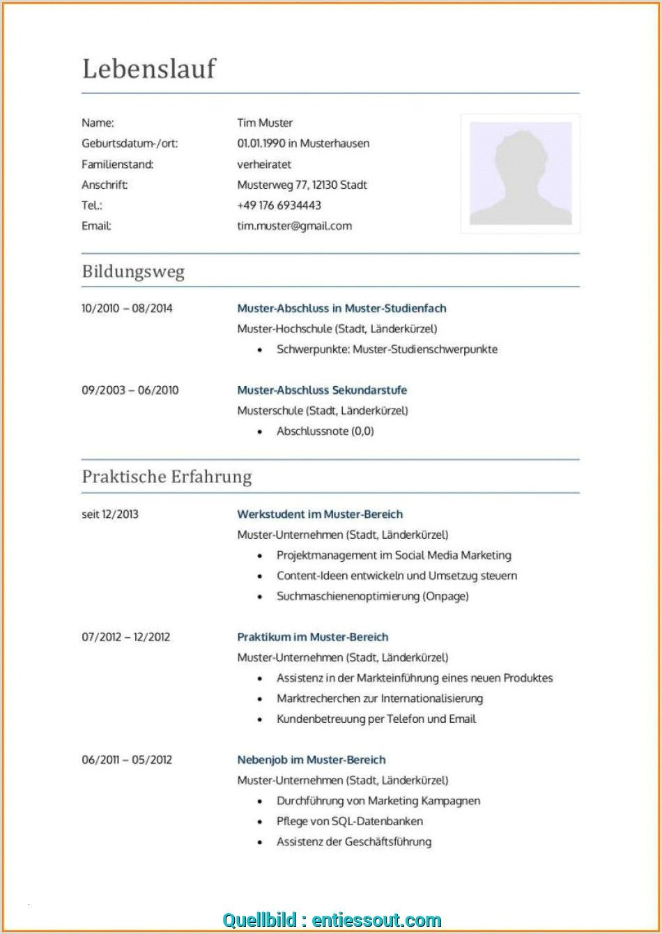 Lebenslauf Muster Gliederung In 2020 Resume Examples Good Resume Examples Basic Resume Examples