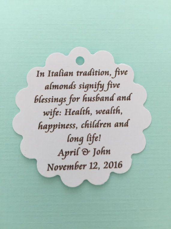 Brianne 100 Pc Italian Jordan Almond Poem Tag For Wedding Favors