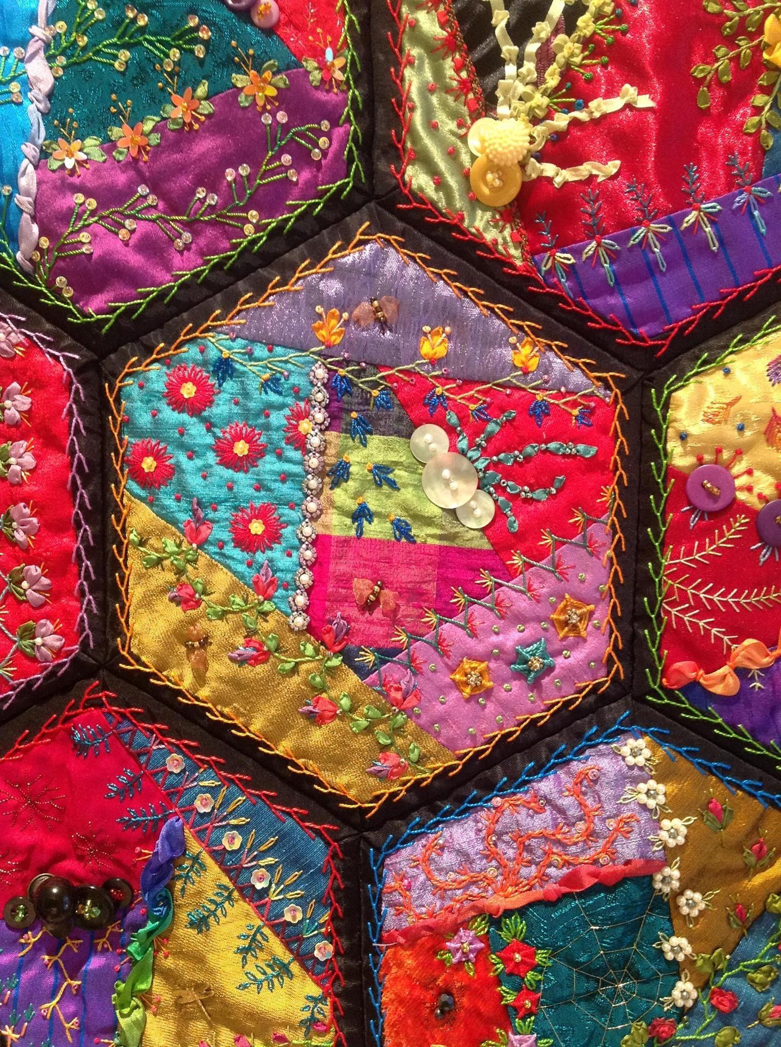 crazy quilt hexagons ~ Fool Proof Crazy Quilting