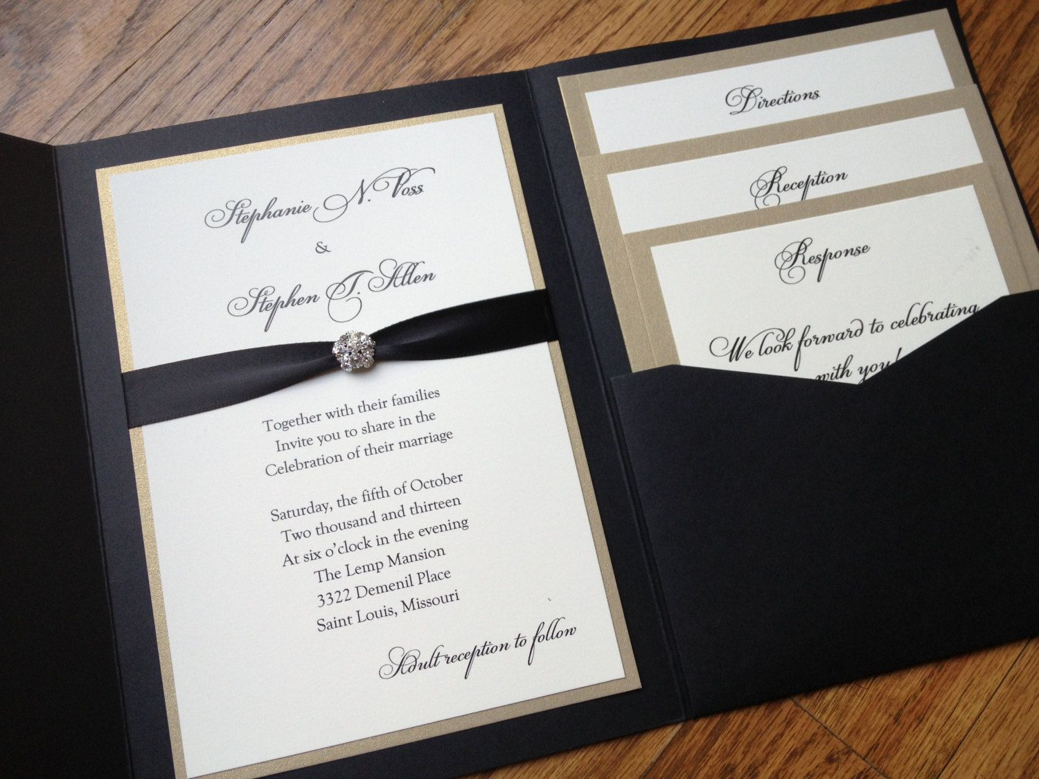 Glamorous Pocket Wedding Invitation in Eggplant and Gold Shimmer ...
