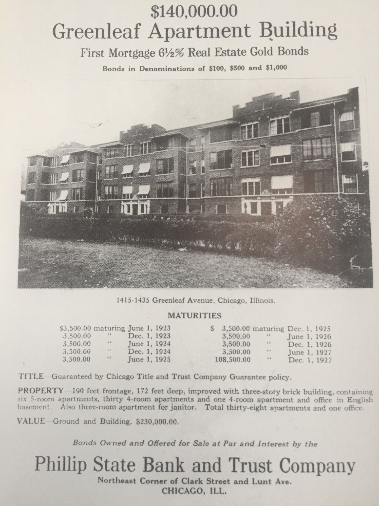 Apartment Building Financing For The Greenleaf Apartments This Was One Of The Methods Of Financing L Chicago Neighborhoods Chicago History Rogers Park Chicago