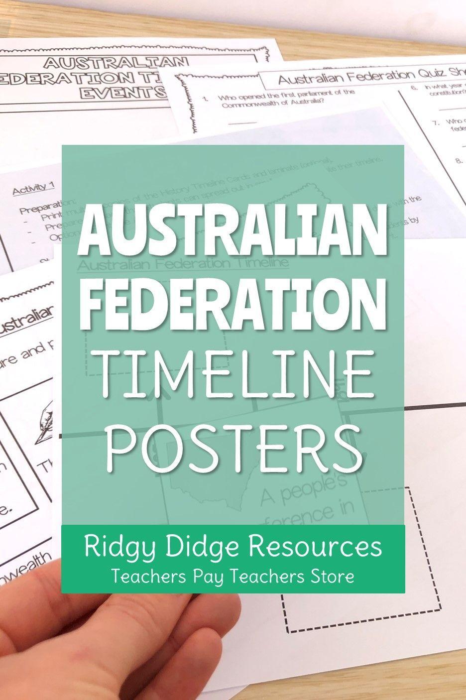 Australian Federation Timeline and Activities Teacher