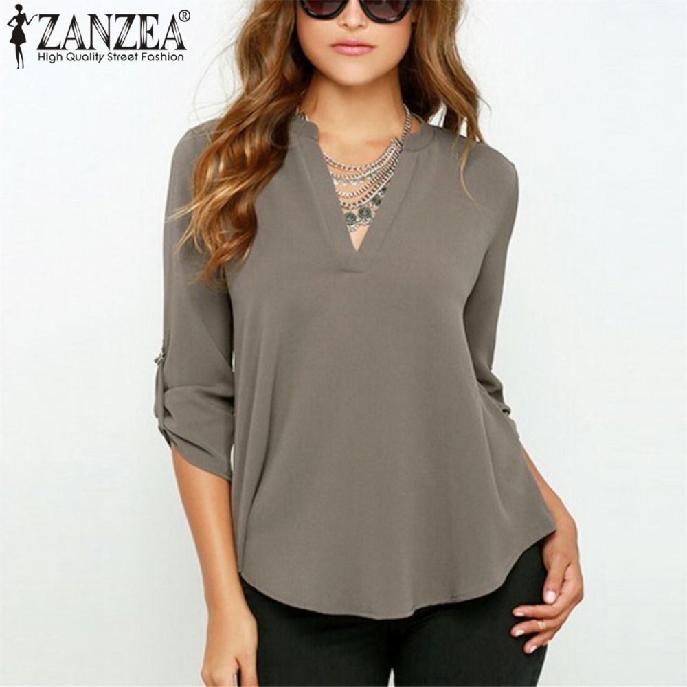 5c1a2595c5aafa Spring Autumn Women V Neck Chiffon Blouse Tops Fashion OL Style Fold Long  Sleeve Casual Gray Blouses Plus Size Blusas Shirt