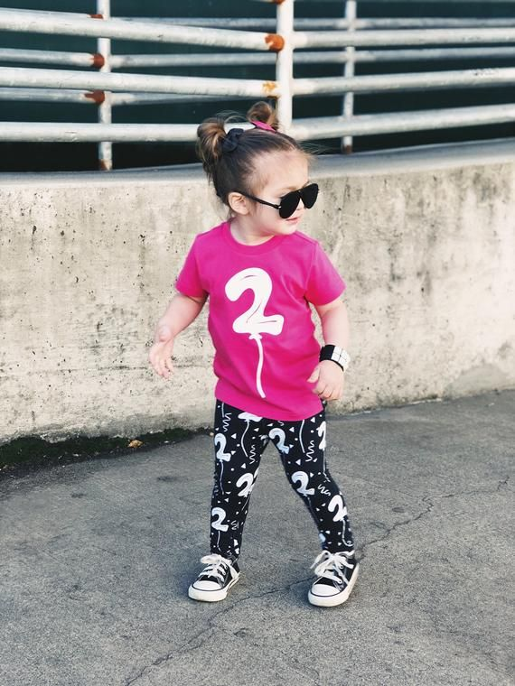 Second Birthday Balloon Shirt AND Leggings Toddler Boy Girl 2 Year Old Outfit Many Color