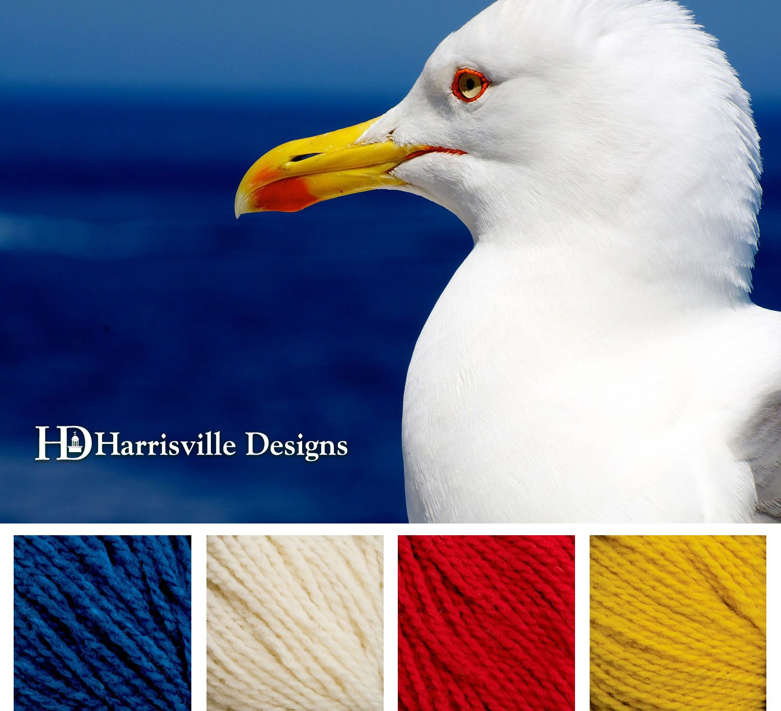 Summer Seagull Color Palette Using Harrisville Designs Yarn Cobalt White Red And Marigold