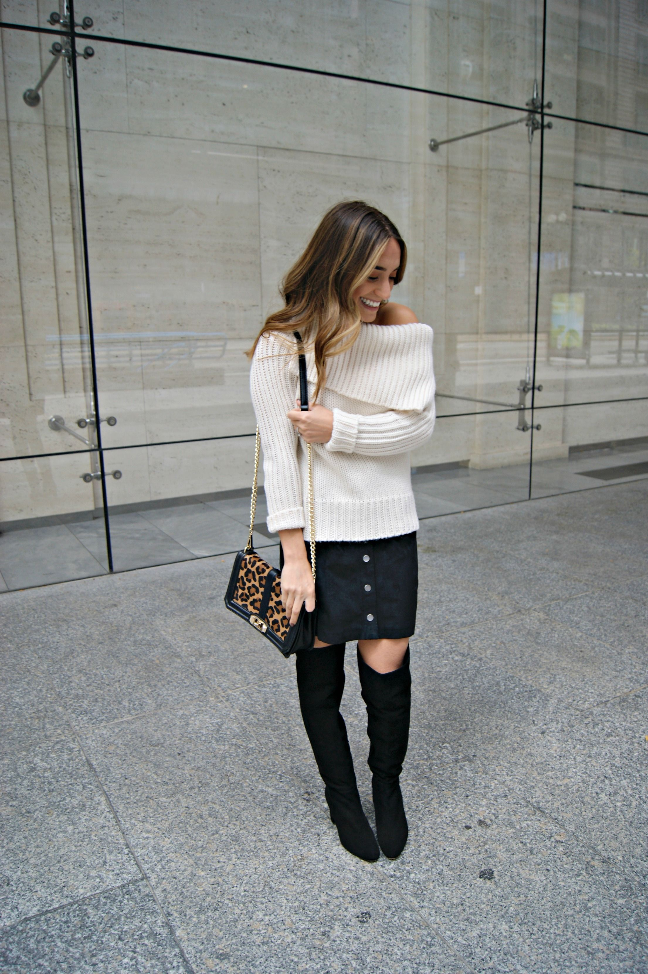 Button Front Skirt. Black suded skirt, white off the shoulder ...