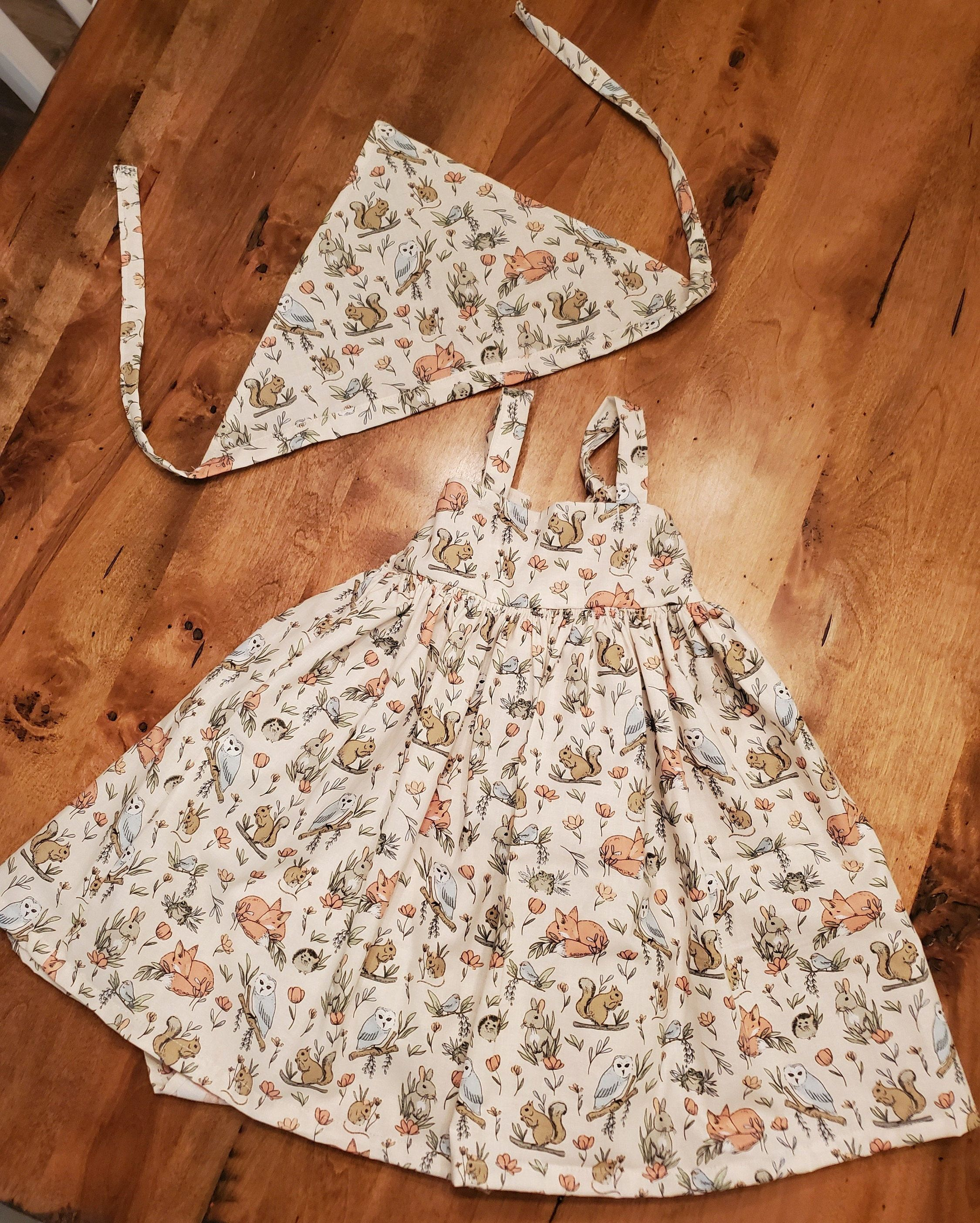 Woodland Friends Girls Summer Dress And Bandanna Set Girls Etsy Girls Dresses Summer Girls Sundress Woodlands Dress [ 2809 x 2250 Pixel ]
