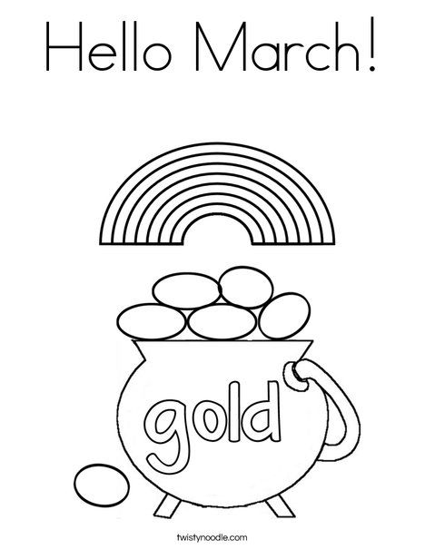 Hello March Coloring Page