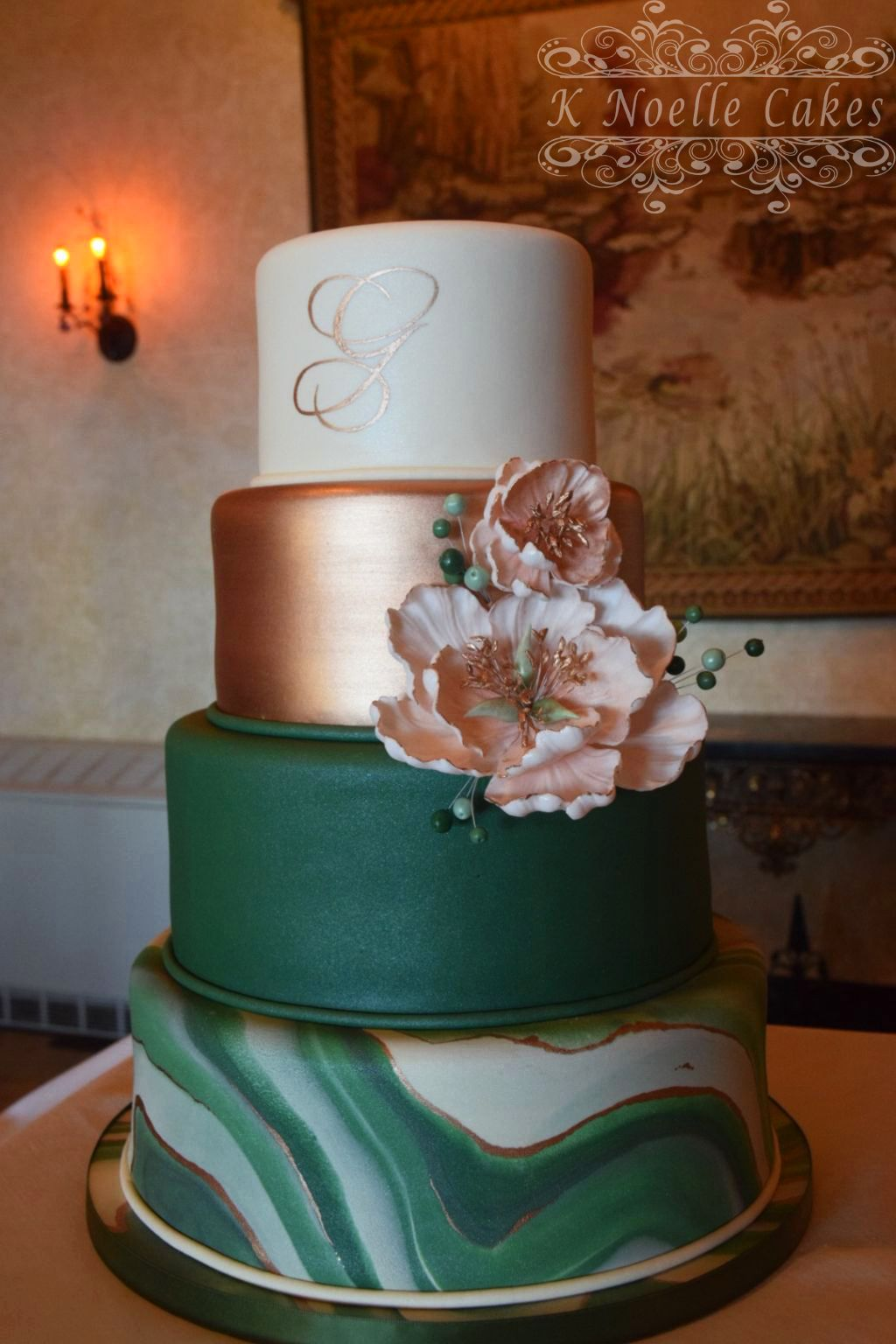 Rose gold/Hunter green and Marbled wedding cake by K Noelle