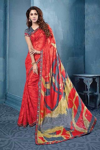 Attractive Red with Brown Colour Printed Saree