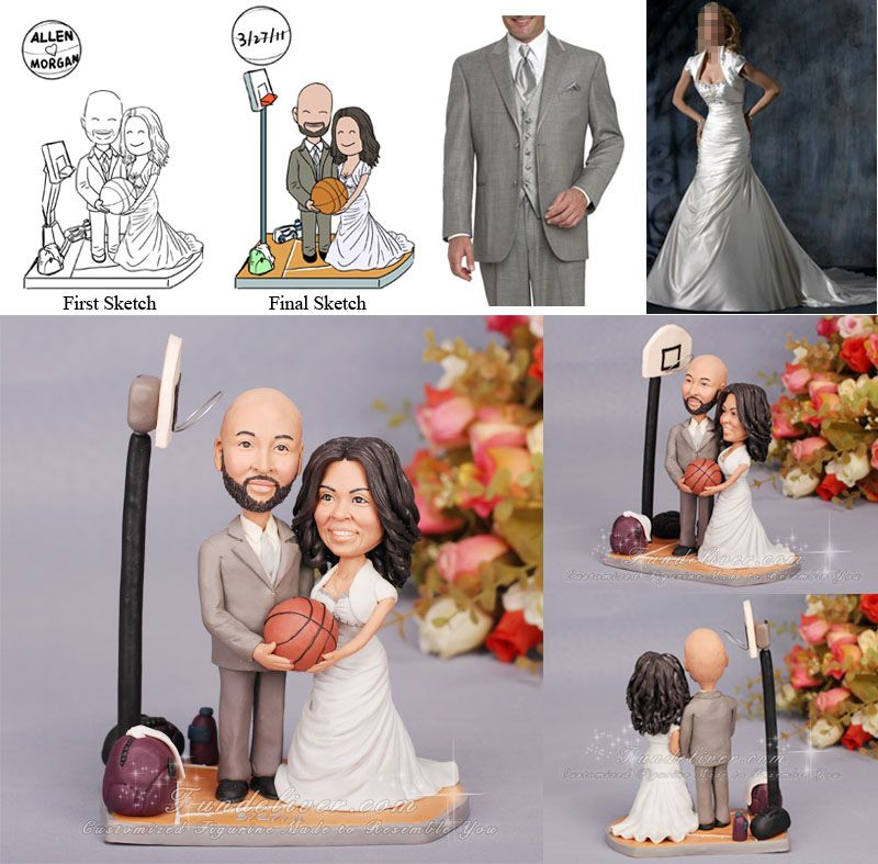 basketball couple wedding cake topper basketball cake topper with a figurine standing on 11101