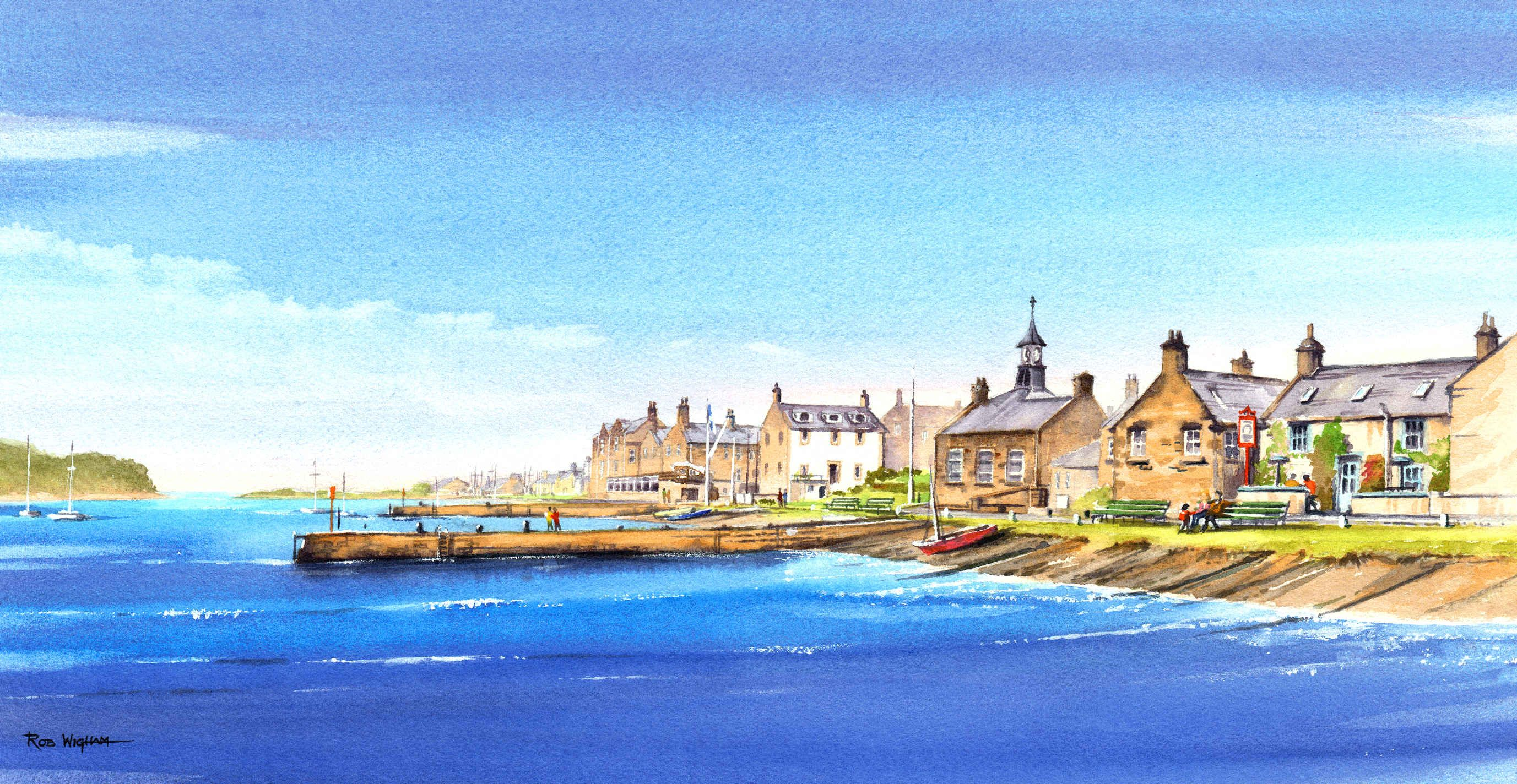 Findhorn From The Bay Watercolour 70 X 35 Cm Watercolor Art