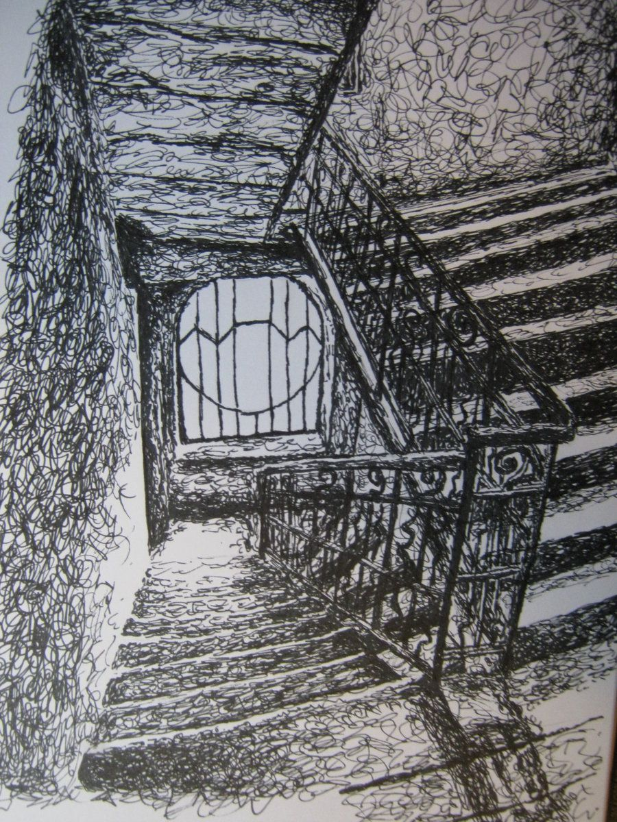 Scumbling Drawing Using Light And Dark Contrast To Create Effect Of Stairs Value In Art Stairways Light In The Dark