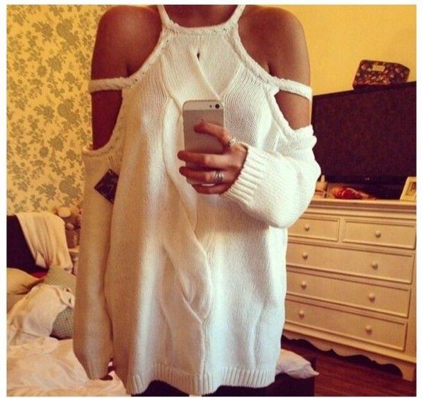 Sweater: white jumper, oversized white sweater, white sweater ...