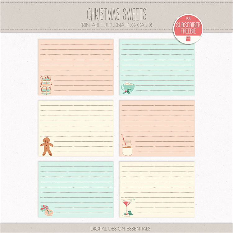 FREE Christmas Sweets Journaling Cards FREEBIE