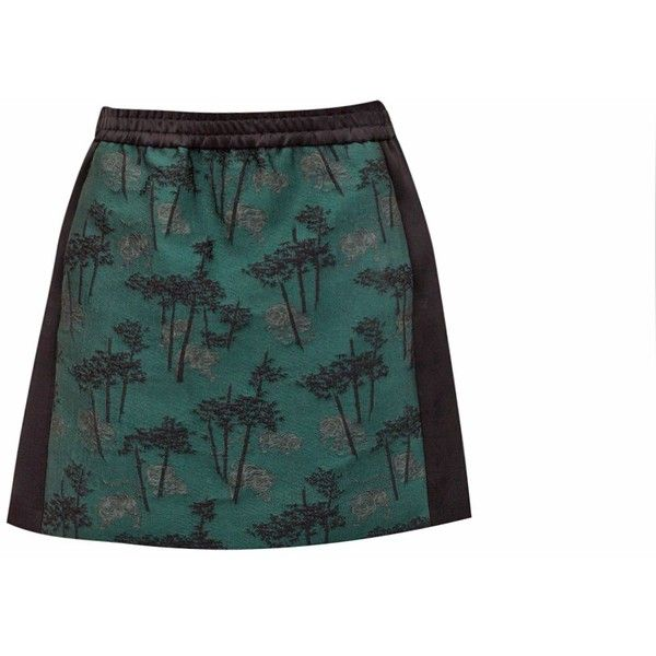 Bamboo Tiger Skirt (3.225 VEF) ❤ liked on Polyvore featuring skirts, mini skirts, tiger print skirt, short skirts, mini skirt, short mini skirts and jacquard skirt