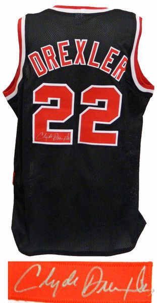 94e0e1065 Clyde Drexler Portland Trail Blazers Signed Black Throwback Custom  Basketball Jersey - Schwartz COA