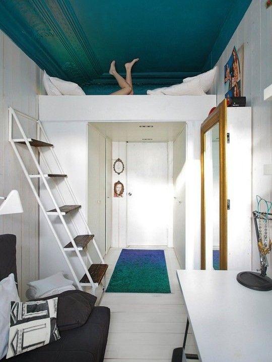 Schon Kleine Wohnung Einrichten Mit Hochhbett_studentenzimmer Ideen Mit Loft Bed  über Kleiderschrank Und Korridor