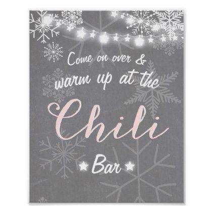 Chili Bar sign Pink snowflake Chilly Rustic Winter | Zazzle.com #chilibar