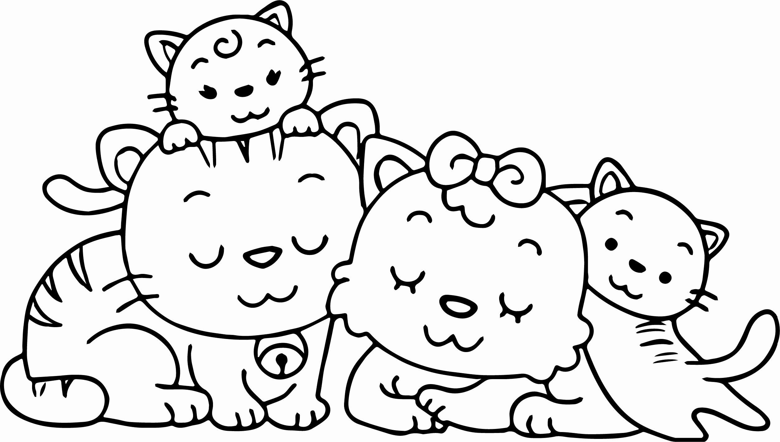 Cat Playing With Three Kittens Cat Coloring Page Kittens Coloring Kitty Coloring