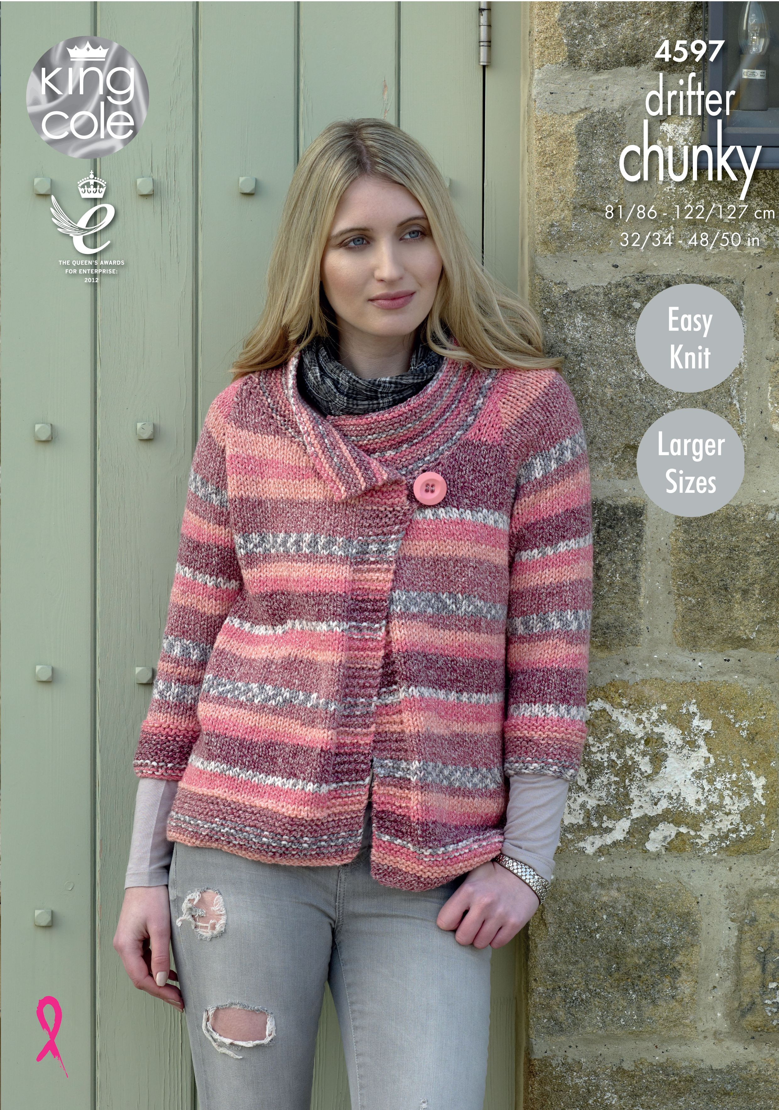 2654ec48306e0 Knitted ladies jacket with 3 4 length sleeves - Self Stripping Yarn King  Cole