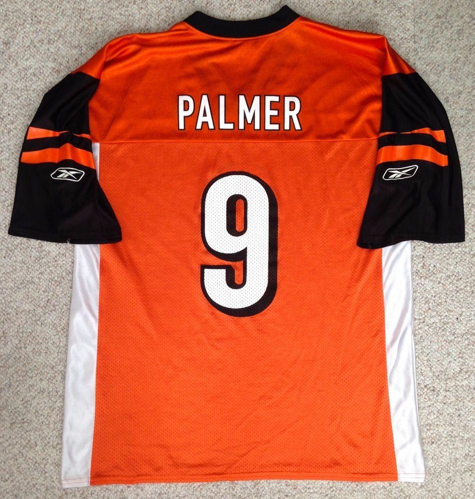 vtg CINCINNATI BENGALS CARSON PALMER  9 JERSEY Orange black white MENS LRG   Reebok  CincinnatiBengals 7579a00af