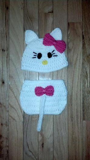 Hello Kitty Crochet Hat and Diaper Cover set | Crochet Items ...