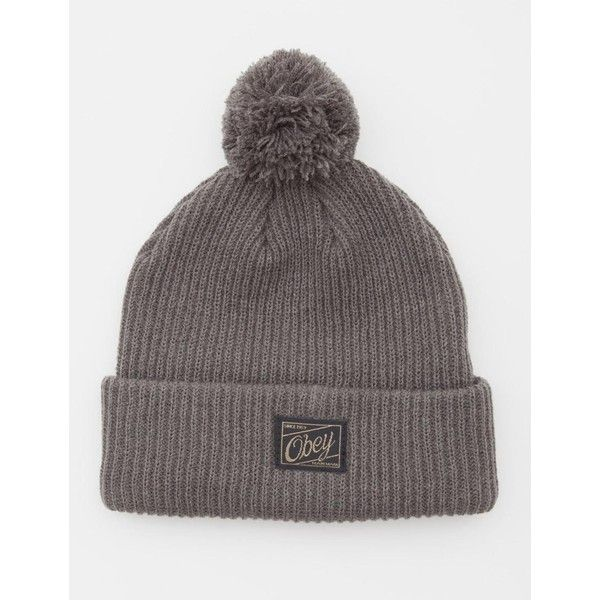 1749fba0bfd Obey Old Timey Pom Pom Beanie Hat - Gun Metal ( 32) ❤ liked on ...