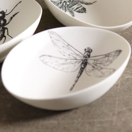 black on white Dragonfly bowl #decor #dinnerware #home : dragonfly dinnerware - pezcame.com