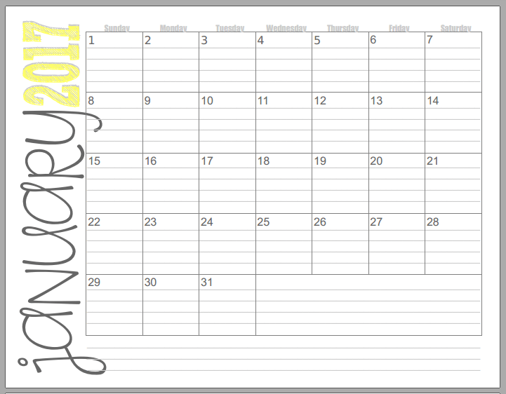 2017-Calendar-Yellow-landscape.png (721×562) | cleaning/organizing ...