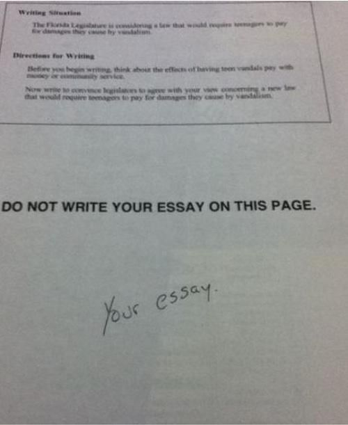 Student s Honest Exam Answer Is Hilarious  Teacher s Response Is     Daily Mail funny essay test answer