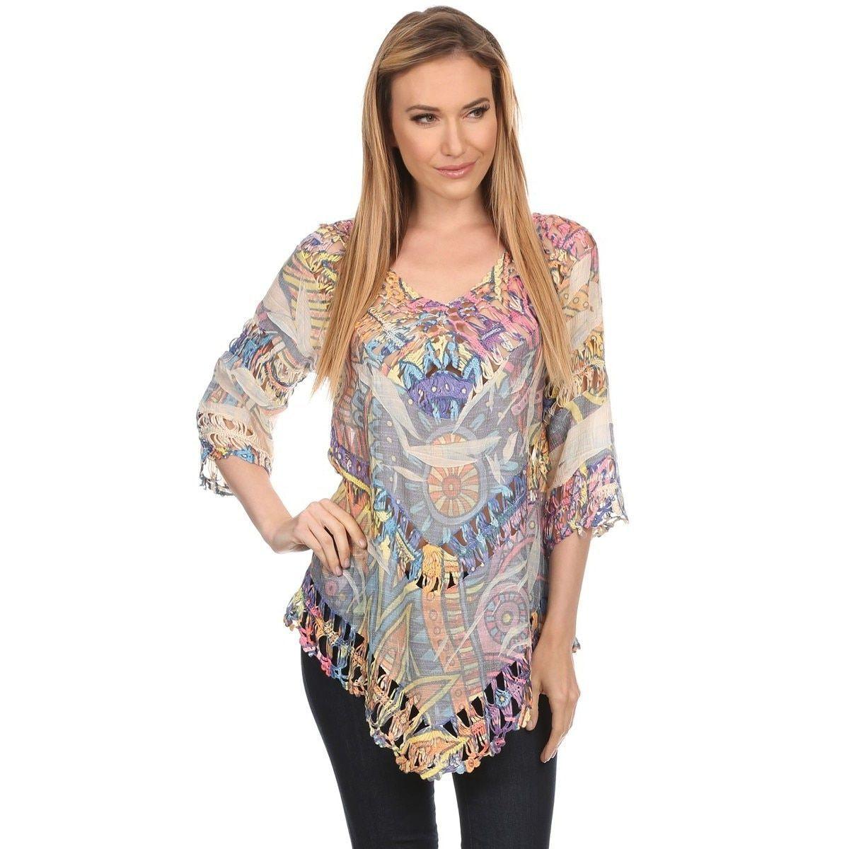 High Secret Women's color Crochet-Trim 3/4 Sleeve Top