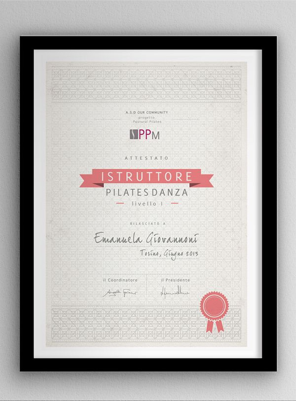 Sports Certificate: pilates and yoga on Behance | certs | Pinterest