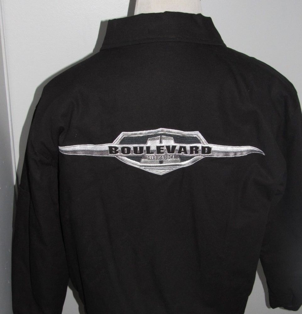 4c13be65b SUZUKI BOULEVARD BIKER JACKET Mens M Cloth Lined EMBROIDERED LOGOS ...